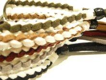 他の写真2: ◆1個販売◆刻印無料★レザー製プレート付きミサンガブレスレット♪カラフルな革紐を編んだブレス&プレート部分に絵柄・名前・記念日刻印♪